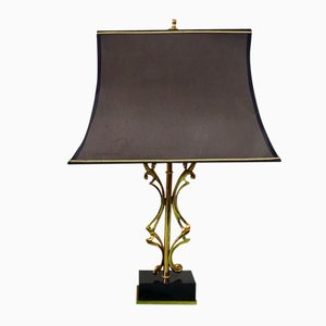 Abstract Brass Lamp with a Marble Base