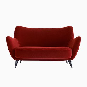 Red Mohair Velvet Perla Sofa by Giulia Veronesi for ISA Bergamo, 1950s