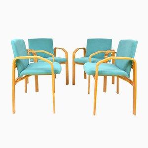 Türkise Vintage Esszimmerstühle, 4er Set