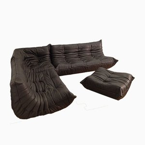 Chocolate Brown Leather Togo Sofa Set by Michel Ducaroy for Ligne Roset, 1970s
