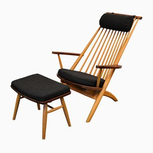 Oak and Walnut Lounge Chair and Ottoman by Tateishi Shioji, 1950s