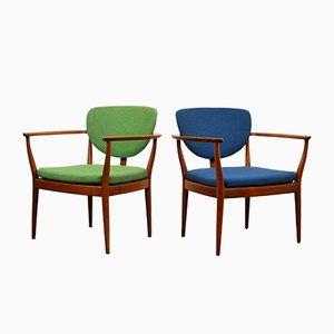 Dänische Teak Armlehnstühle in Grün und Blau, 2er Set