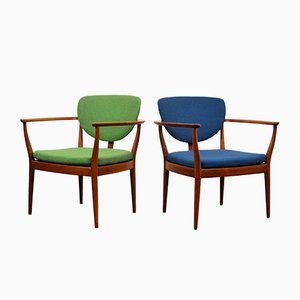 Danish Green & Blue Teak Lounge Chairs, Set of 2