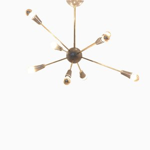Mid-Century French Brass 8-Armed Sputnik Chandelier