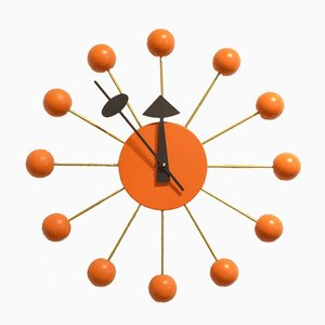 Orange Wood & Brass Ball Clock by George Nelson, 1980s