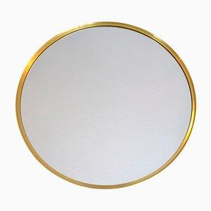 Espejo de pared sueco redondo de latón, años 60