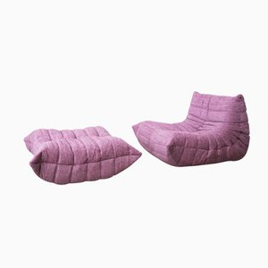 Pink TOGO Lounge Chair with Ottoman by Michel Ducaroy for Ligne Roset