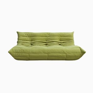 Green Velvet 3-Seater Togo Sofa by Michel Ducarot for Ligne Roset