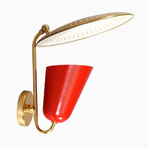 Red Italian Wall Sconce, 1950s