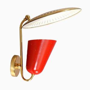 Rote Italienische Wandlampe, 1950er