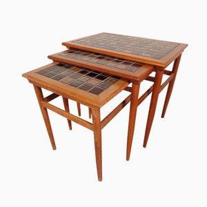 Tavolini a incastro in teak con mosaico in ceramica, Danimarca, anni '60, set di 3