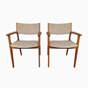 Danish Teak Armchairs with Wool Upholstery, Set of 2