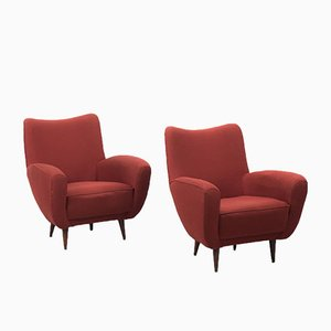 Italian Terracotta Fabric Armchairs, 1960s, Set of 2