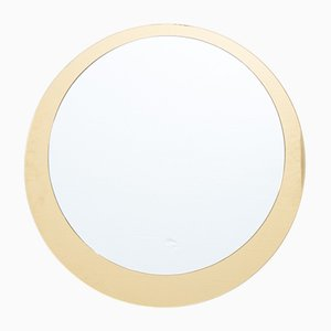 Italienischer Runder Vintage Spiegel mit Goldfarbenem Rand