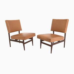 Italian Mahogany Chairs with Skai Leather, 1950s, Set of 2
