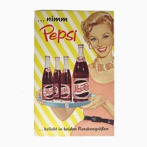 Cartel publicitario vintage de Pepsi Cola, años 60