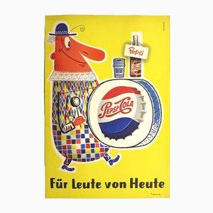 Cartel publicitario con litografía de Pepsi, años 60
