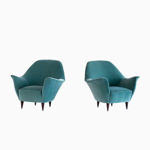 Green Velvet Armchairs by Ico Parisi for Ariberto Colombo, 1950s, Set of 2
