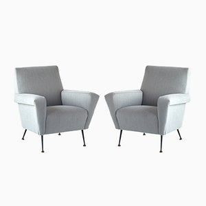 Italian Armchairs with Black Metal Tapered Legs, 1950s, Set of 2