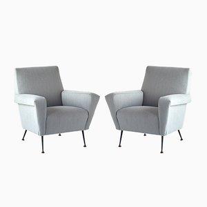 Italienische Sessel mit Konischen Schwarzen Metallfüßen, 1950er, 2er Set