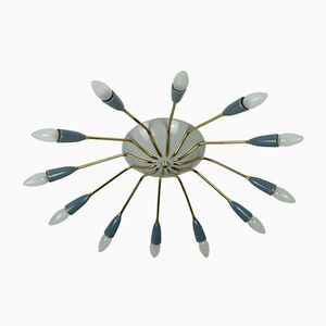 12-Armed Sputnik Spider Ceiling Lamp, 1950s