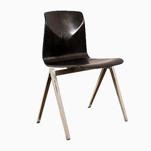 Silla vintage con asiento negro de Pagholz Flöttoto