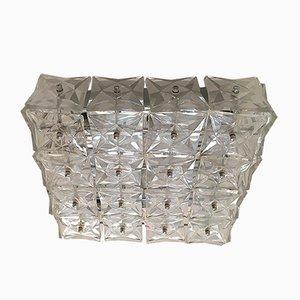 Luz de montaje o de pared grande de cromo y cristal de Kinkeldey, años 70