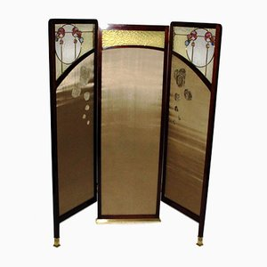 Austrian Art Nouveau Glass & Wood Room Divider