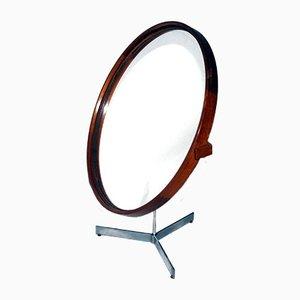 Espejo de mesa sueco de teca de Uno & Östen Kristiansson para Luxus, años 60