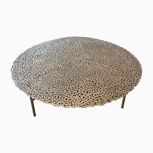 Jean Cast Butterfly Indoor or Outdoor Coffee Table in White Bronze by Fred & Juul