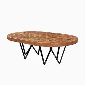 Maurits Oval Marquetry Table in Reclaimed Oak by Fred&Juul
