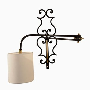 Articulated French Wrought Iron & Brass Wall Sconce, 1956