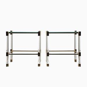Tables d'Appoint Vintage en Verre et en Plexiglass, Set de 2
