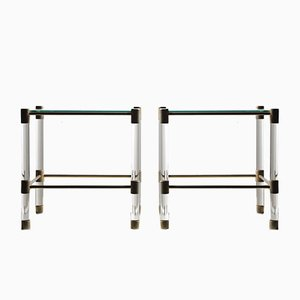 Vintage Glass and Plexiglass Side Tables, Set of 2