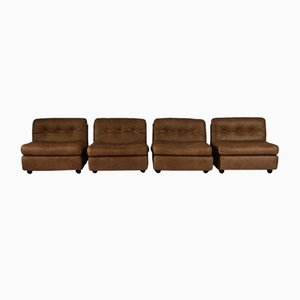 Vintage Model Amanta Leather Lounge Chairs by Mario Bellini for B&B Italia, Set of 4