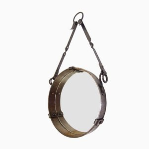 Round French Wrought Iron Wall Hanging Mirror, 1958