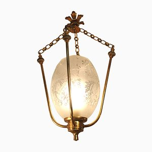 Art Deco French Brass & Etched Frosted Glass Hanging Lantern, 1934