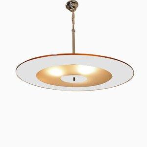 Art Deco Deckenlampe aus Spiegel- und Milchglas