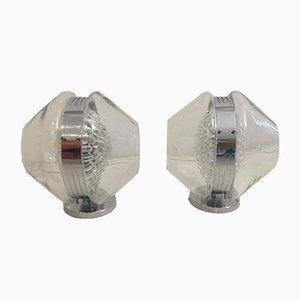 Skulpturelle Italienische Volcano Wandlampen aus Glas von Toni Zuccheri, 2er Set