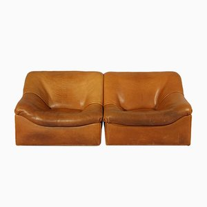 DS-46 Thick Buffalo Leather Lounge Chairs from de Sede, 1970s, Set of 2