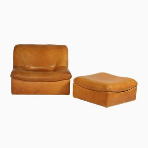 DS-46 Thick Buffalo Leather Lounge Chair & Pouf from de Sede, 1970s