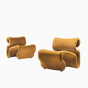 Scandinavian Mustard Yellow Et Cetera Lounge Chairs by Jan Ekselius for JOC Möbler, 1970s, Set of 2