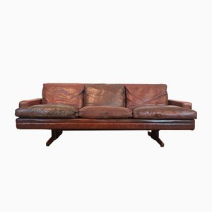 Leather & Rosewood Sofa by Fredrik Kayser for Vatne Møbler, 1960s