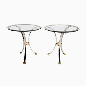 Round Chrome & Brass End Tables by Maison Jansen, 1970s, Set of 2