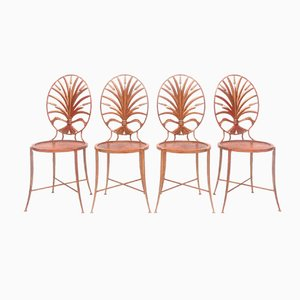 Gilt Wheat Sheaf Chairs from Salvadori, 1970s, Set of 4