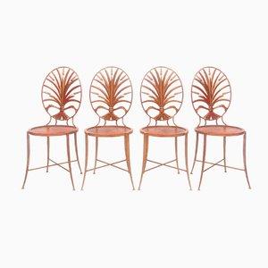 Vergoldete Weizenbündel Stühle von Salvadori, 1970er, 4er Set