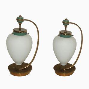 Lampade da tavolo in vetro e ottone, Italia, anni '50, set di 2