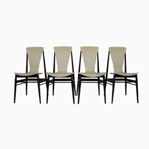 Italian Teak Chairs, 1960s, Set of 4