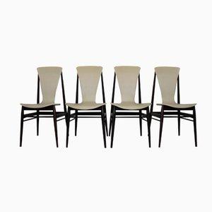 Italienische Teak Stühle, 1960er, 4er Set