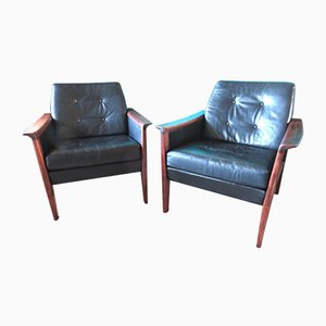 Danish Leather and Wooden Armchairs, 1960, Set of 2